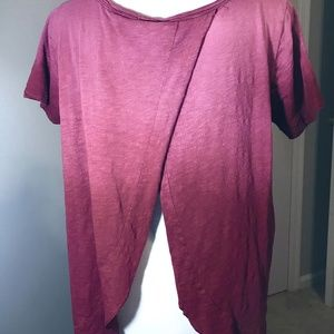 White Crow Red Ombre Open Back Shirt Relaxed Top